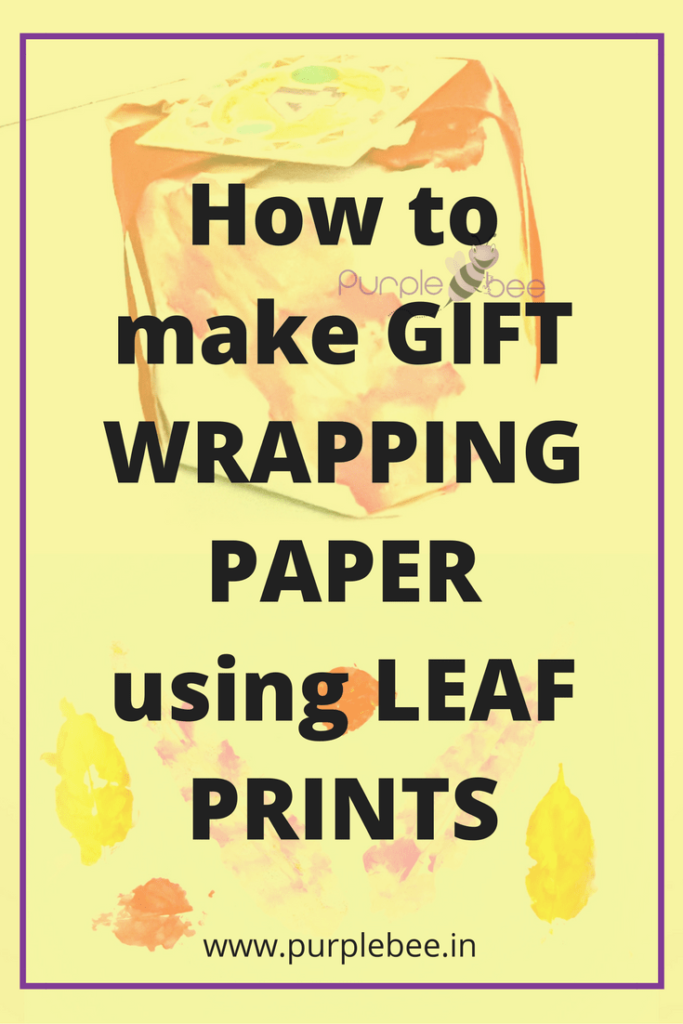 how to make gift wrapping paper using leaf prints