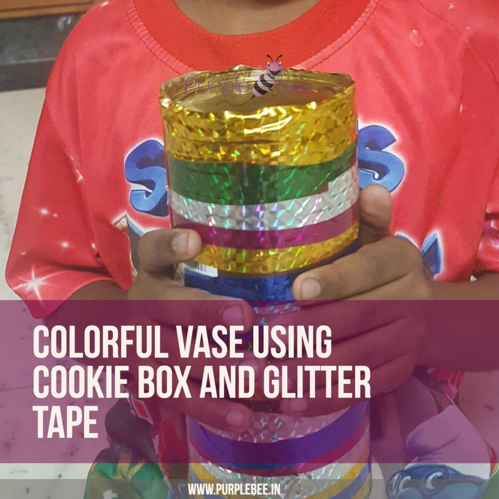Colorful Vase craft using cookie box and glitter tape