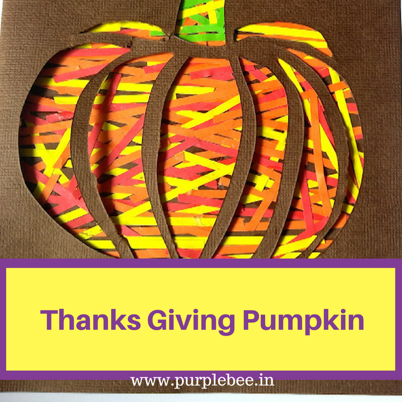 Thanksgiving craft for kids – Pumpkin card using quilling strips