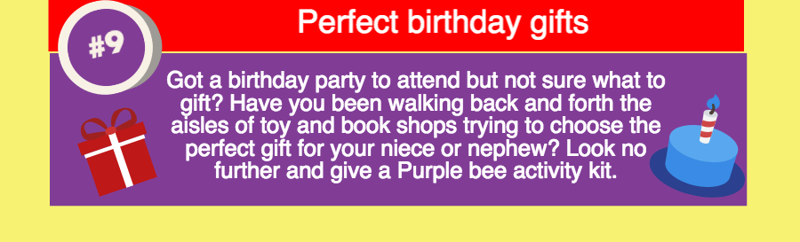 Purple Bee activity kits for birthday gifts